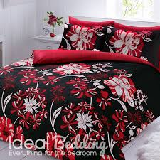 linear black and red duvet quilt bedding cover and pillowcase bedding set