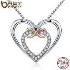 whole bamoer authentic 925 sterling silver elegant infinity love double heart pendant necklaces for women fine jewelry gift scn121 gold charms heart