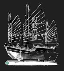 crystal glass sailboat model