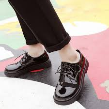 2019 spring new pumps shoes women black patent leather round toe lace up oxford casual buckle women dress shoes black white 3 a1