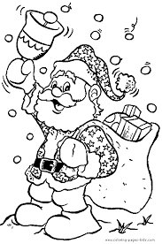 Small Picture Christmas Coloring Page Santa Claus with a bell