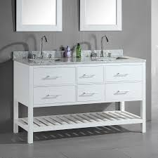 design element london white double sink vanity with white natural marble top common 60