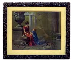 antique picture in ornate carved wooden frame