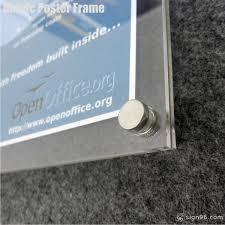 a4 a5 size certificate wall mounted crystal clear acrylic poster frame with stainless steel standoff made in malaysia sign96 com sign trusted