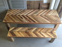 Pallet Furniture Kitchen Reclaimed Pallet And Barn Wood Kitchen Table With Matching