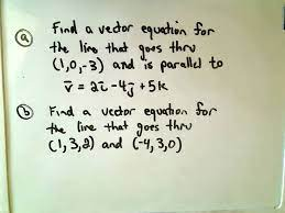 finding the vector equation of a line