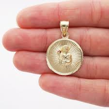 wjd exclusives 10k yellow gold diamond cut ruby santa barbara round medallion pendant com
