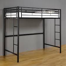walker edison metal twin loft bed black btolbl