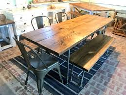 Likable Industrial Style Dining Table And Bench Set Scaffold