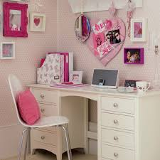 beautiful white computer desk and chair for teenage girls with pink picture art frame
