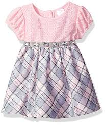 Youngland Baby Girls Lace Bodice Sparkle Plaid Dress