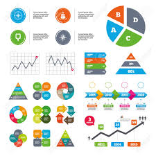 Data Pie Chart And Graphs Windrose Navigation Compass Icons