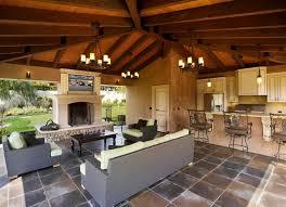 Backyard Rustic Outdoor Kitchen Ideas Open Rustic Outdoor Design Grey Tiles  Kitchen Flooring Classic Chandelier ...