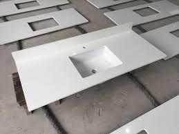prefabricated white quartz vanity top with center sink