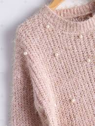 Fuzzy Light Pink Sweater Faux Pearl Embellished Knit Fuzzy Sweater Light Pink One
