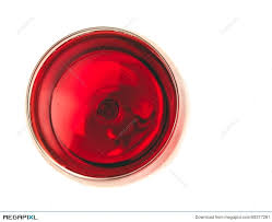 top of view of red wine in the glass isolated