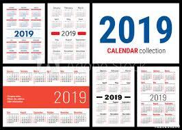 Basic Calendars Calendar 2019 English Vector Template Big Collection Of Pocket