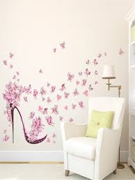 wall stickers novel pink erflies high heeled shoes pattern wall art wall stickers at jolly chic