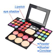 professional 39 color eyeshadow palette kit foundation powder blusher cosmetic lipstick set with makeup puff eyeshadow brushes
