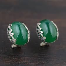 <b>Green</b> chalcedony earrings <b>S925 silver</b> style wholesale <b>new</b> style ...