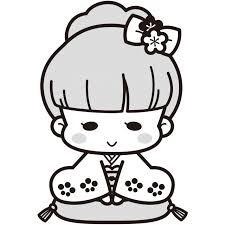 着物を着た女の子白黒イラスト 無料イラスト素材素材ラボ