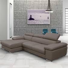 Fresh Taupe Leather Sofa On Nicoletti Lipari Italian Chaise Left Facing 12
