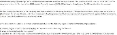 Shoreline Seating Chart Solved The G E Company Is Preparing A Bid To Build The Ne
