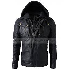 black faux leather jacket with hood zoom mens