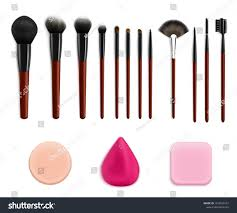 makeup brushes sponges realistic collection with isolated colourful images of sponges and various applicator brushes vector