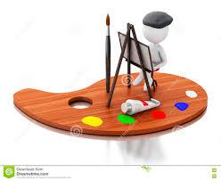 3d artist painting on color palette