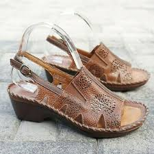 Ariat Womens Polly Ray Slingback Wedge Sandals Size 8 B Brown Leather  10015209   eBay