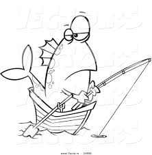 Small Picture Vector of a Cartoon Fish Fishing from a Boat Outlined Coloring