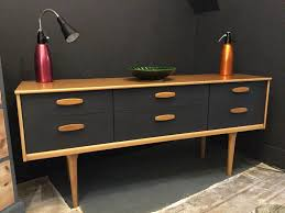 teak retro furniture. danish style retro sideboard painted in graphite by autentico paint teak furniture