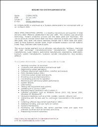 Basic Resume Template Free Unique Resume Template System Administrator Admin Resumes Sample Download