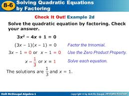 example 2d solve the quadratic equation by factoring check your answer