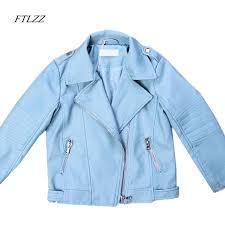 ftlzz girls boys pu leather jackets coat fashion cute cartoon pattern motorcycle short jackets children clothes