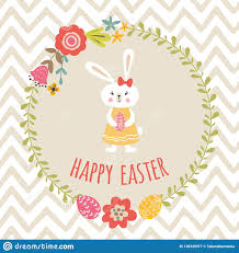 Easter Template Cute Happy Easter Template With Eggs Floral Wreath Rabbit