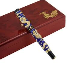 <b>Jinhao</b> Blue Cloisonne <b>Double Dragon</b> Fountain Pen Iridium ...