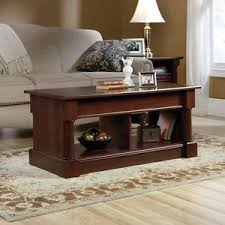 Sauder Palladia Lift Top Coffee Table With Hidden Storage Space In Cherry  Finish