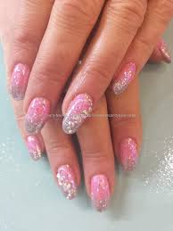 Pink and silver glitter fade with swarovski crystals   Cool finger ...