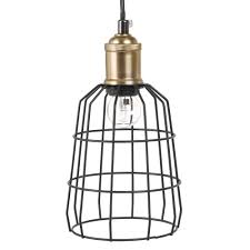 Draadhanglamp Van Zwart En Verguld Metaal