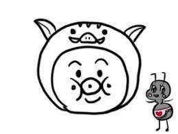 イノシシの年賀状イラストで干支のコスプレをしたキャラクターの絵を描