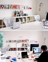 home office design tips. Contemporary White Themed Home Office Design With Large Scale Desk And Shelves Tips D