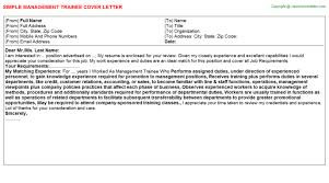 Management Trainee Job Cover Letter
