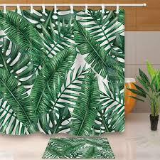 leaves shower curtains green tropical plants bathroom curtain polyester fabric waterproof and mildew proof with 12