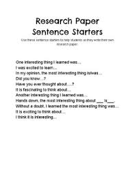 Research Paper Sentence Starters By Gt Friends Tpt