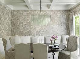 white and gray dining room with gray and black damask wallpaper