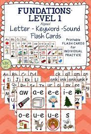 1st Grade FUNDATIONS Level 1 Letter-Keyword-Sound Flash Cards ...