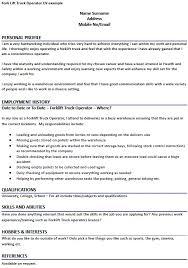 Forklift Driver Resume Examples Best of Driver Cv Examples Uk Fork Lift Truck Operator Cv Example Fresh