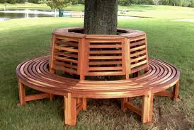 Outdoor Wood Tree Bench Forever Redwood